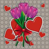 Purple tulips with hearts
