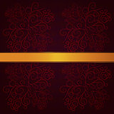 Red background with gold ribbon