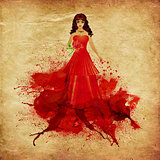 Red haired girl in dress of paint