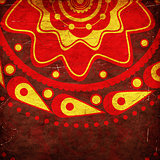 Red ornament on grunge background