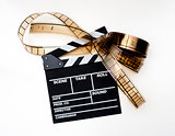 Clapper board with filmstrip