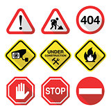 Warning signs - danger, risk, stress - flat design