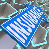 Insurance blue arrow