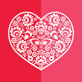 Valentine's Day card - Polish folk art heart Wycinanka