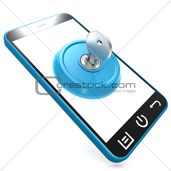 Blue key on smartphone