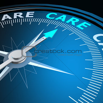 Care word on compass