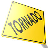 Road sign with tornado