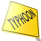 Road sign with typhoon