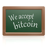 We accept bitcoin black board