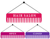 hair salon sign with comb