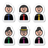 People in business clothes, tie icons set