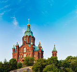 Uspenski Cathedral, Helsinki At Summer Sunny Day. Red Church In