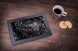Tablet computer with broken glass