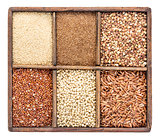 gluten free grains in rustic box
