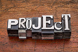 project word in metal type