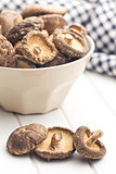 dried shiitake mushrooms on kitchen table