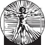 Woodcut Vitruvian Man