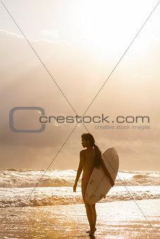Woman Bikini Surfer & Surfboard Sunset Beach