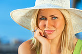Beautiful Woman Girl Wearing Sun Hat