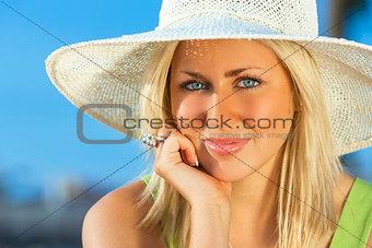 Beautiful Woman Girl Wearing Sun Hat