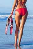 Rear View Red Bikini Woman At Beach