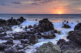 Sunrise and Minamurra volcanic rocks at low tide