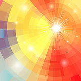Abstract colorful background with sun