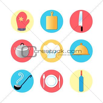 Kitchen utensils and kitchen flat Icons