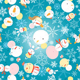 winter pattern with snowmen