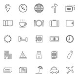Travel line icons on white background