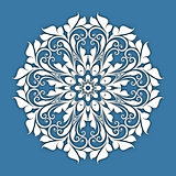 Abstract vector circle floral ornamental border. Lace pattern design. White ornament on blue background. Can be used for banner, web design, wedding cards and others
