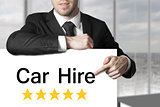 businessman pointing on sign car hire