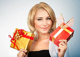 Pretty woman with gifts
