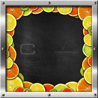 Blackboard with Metal Frame and Fruit