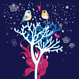 winter card with enamored birds in the trees