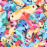 pattern multicolored butterflies