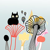 mushrooms and cat graphics
