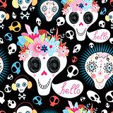pattern of funny skulls