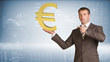 Businessman holding euro sign. Blue gradient background