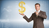 Businessman holding dollar sign. Blue gradient background
