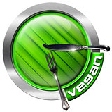 Vegan Restaurant - Green and Metal Icon