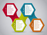Infographic design with connected hexagons