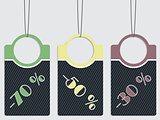 Striped discount labels hanging