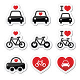 I love cars and bikes icons set