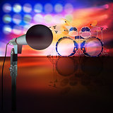 abstract music background with drum kit and microphone