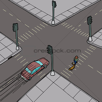 Car and Person at Intersection