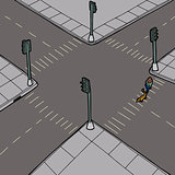 Dog Walker Crossing Street