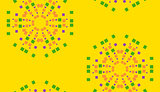 Yellow Floral Pixel Background