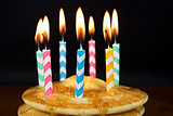 birthday candles on pancakes