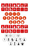 chemical laboratory icons set